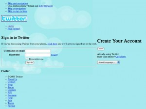 Twitter login screen with the CSS Stylesheet not working. (Click to enlarge)