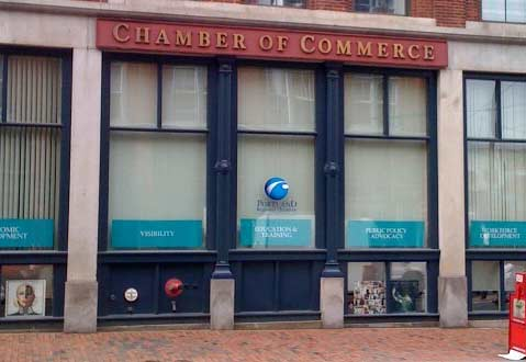 Portland, Maine Chamber of Commerce Office with their always closed blinds.