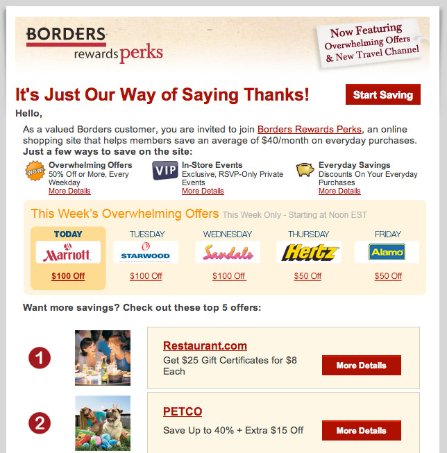 E-Newsletter from Borders Books