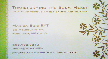 Business card from Portland, Maine business