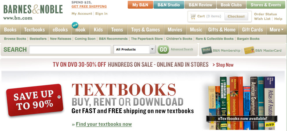Barnes & Noble home page showing lots of text