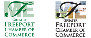 Alternative logo designs for the Greater Freeport Chamber of Commerce