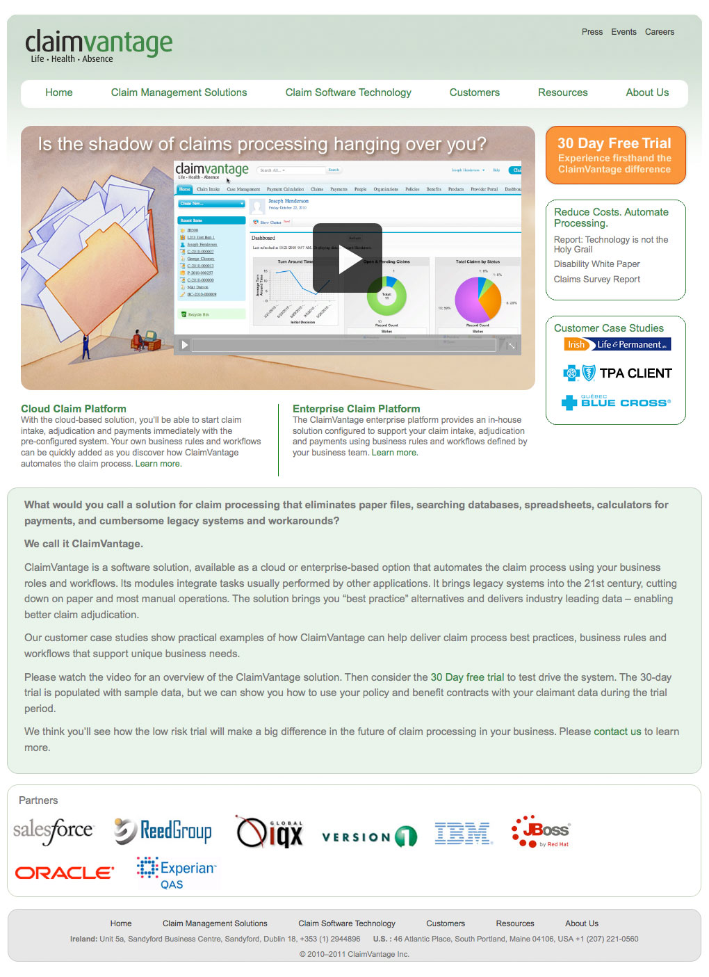 After: The redesigned claimvantage.com home page