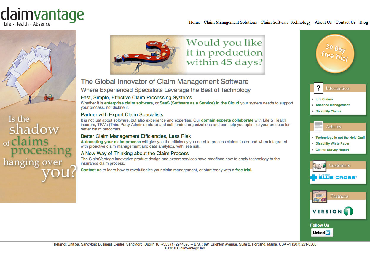Before: ClaimVantage.com old home page design