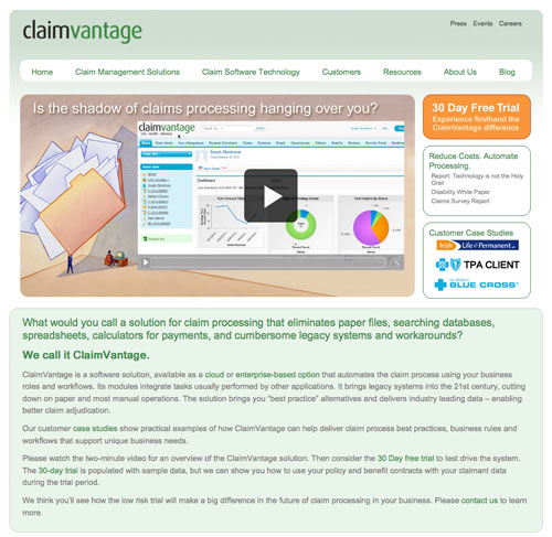 Custom WordPress Design for ClaimVantage