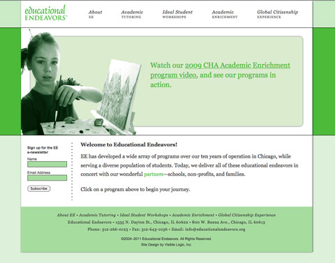 After: Educational Endeavors redesigned home page
