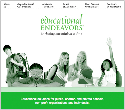 Old design of Educational Endeavors home page
