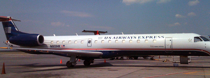 A typical airplane design with horizontal stripes and red, white and blue colors.