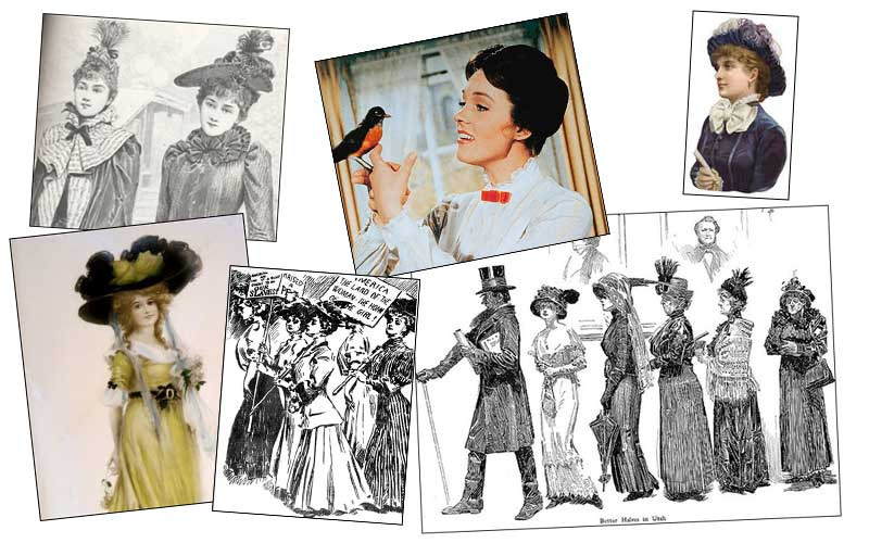 Research and inspiration for the logo design: Victorian women and Mary Poppins
