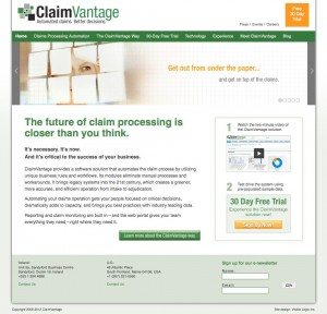 Final web site design for ClaimVantage.