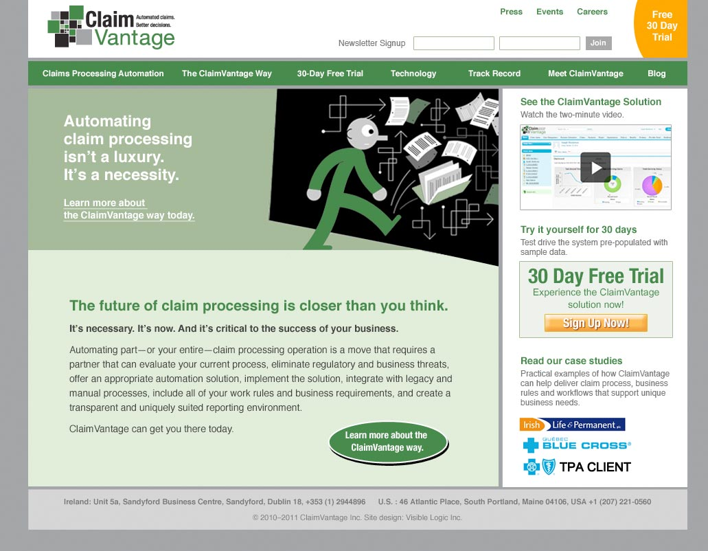 branding process  claimvantage logo  tagline  web site  more