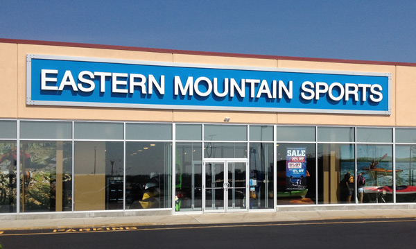 Eastern Mountain Sports new logo on store sign