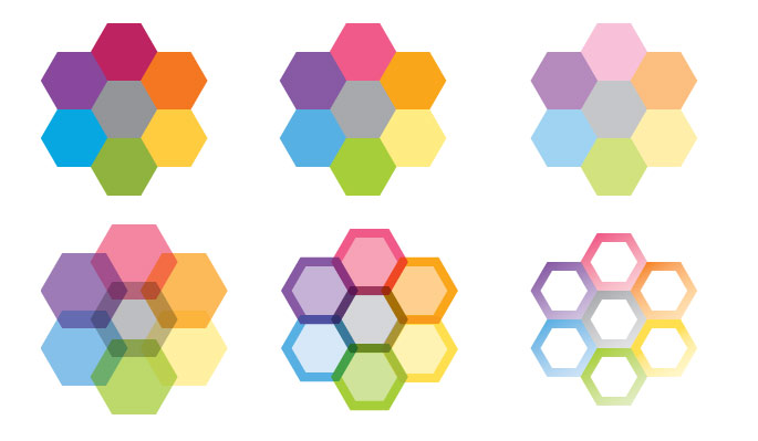 Updated honeycomb graphics to be used as part of the brand identity.