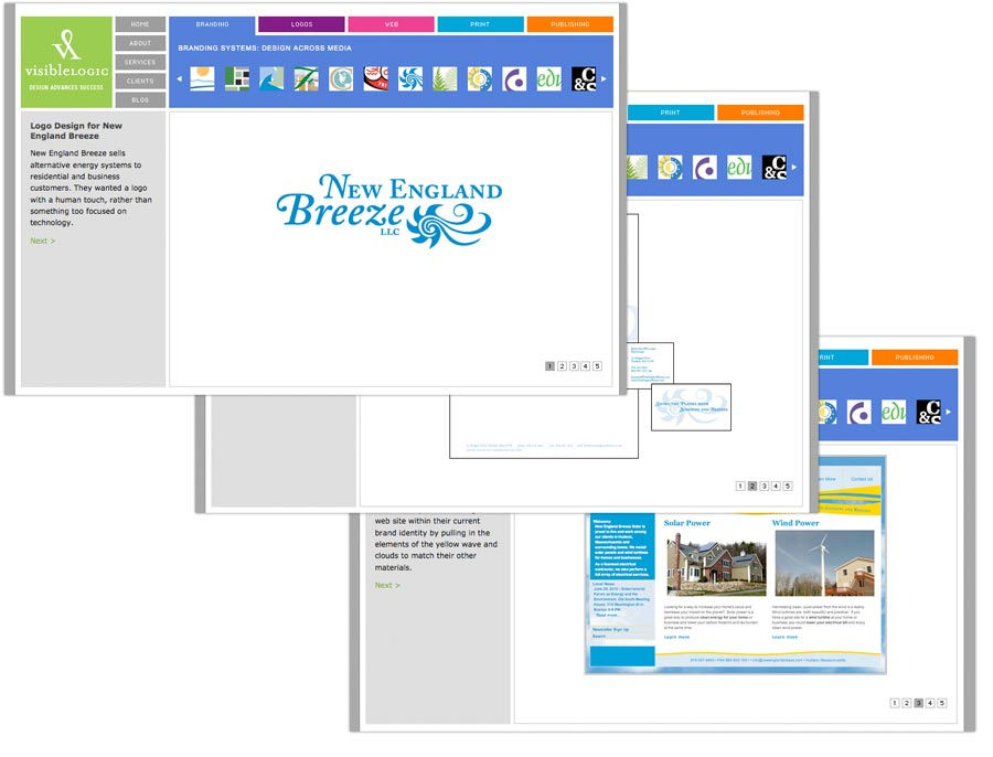 Before: We showed our portfolio samples for one project across multiple pages