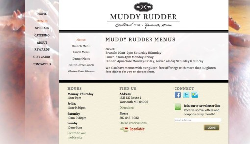 Muddy Rudder restaurant web site design by Visible Logic