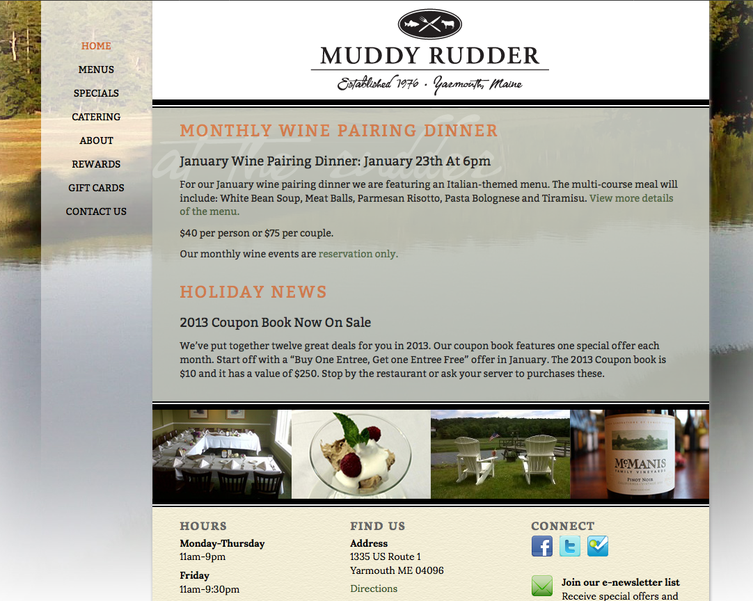 Muddy Rudder Restaurant web design by Visible Logic, Portland, Maine