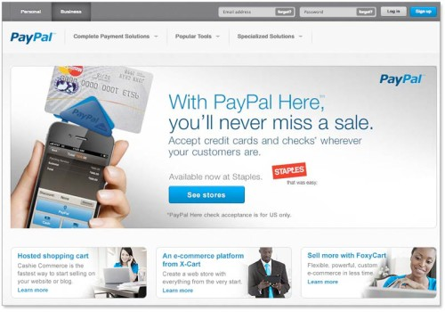 PayPal homepage design