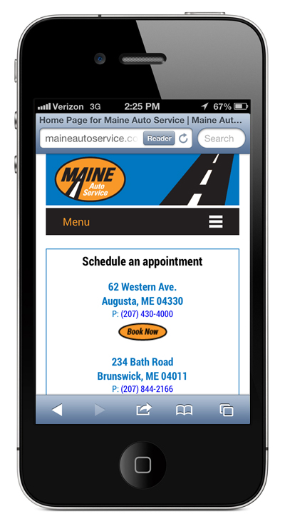 Maine Auto Service mobile site