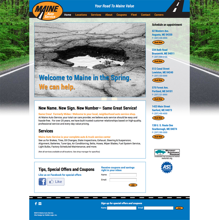 Maine Auto Service Web Design