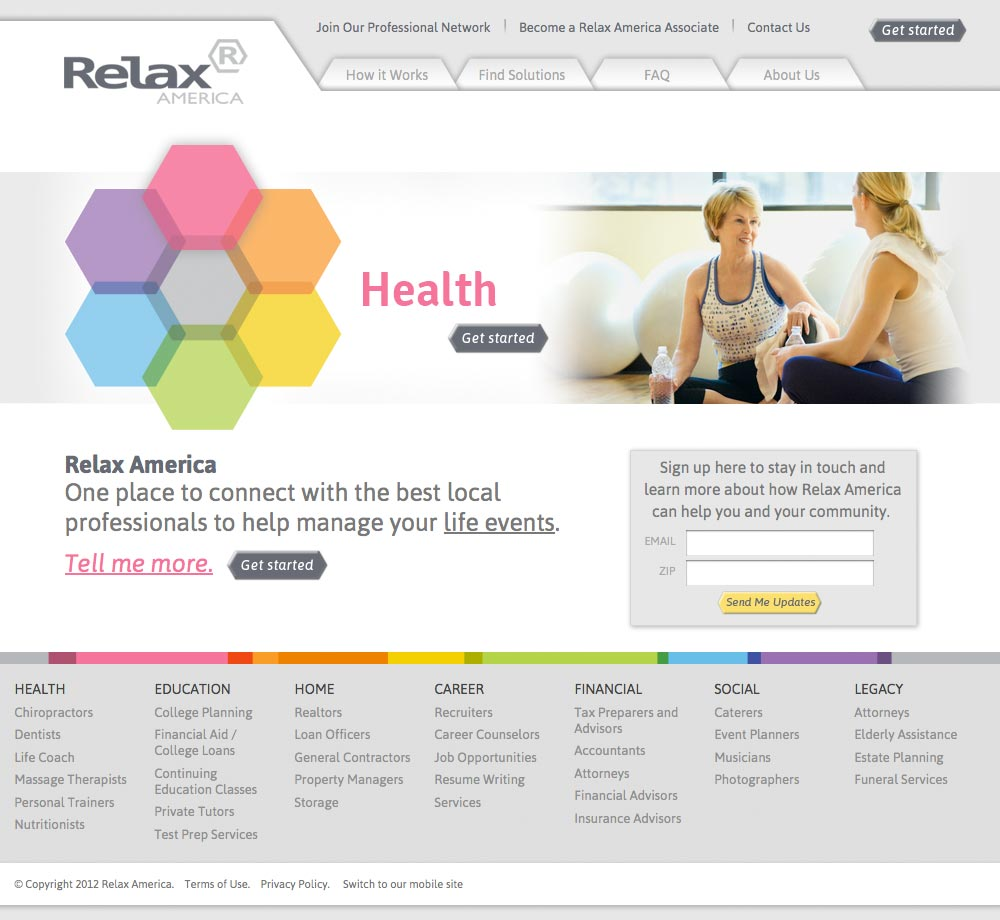 Relax American home page web site design