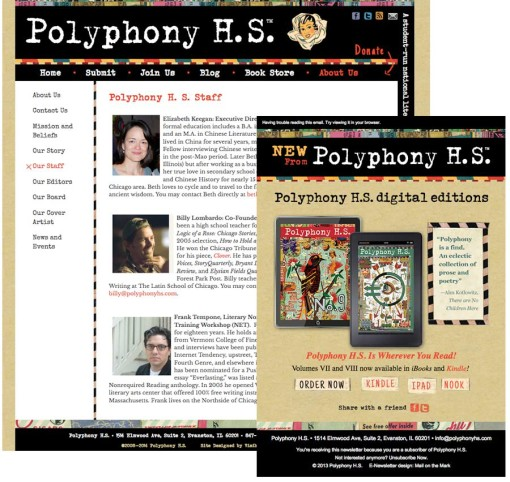 PolyphonyHS.com web site and e-newsletter design.