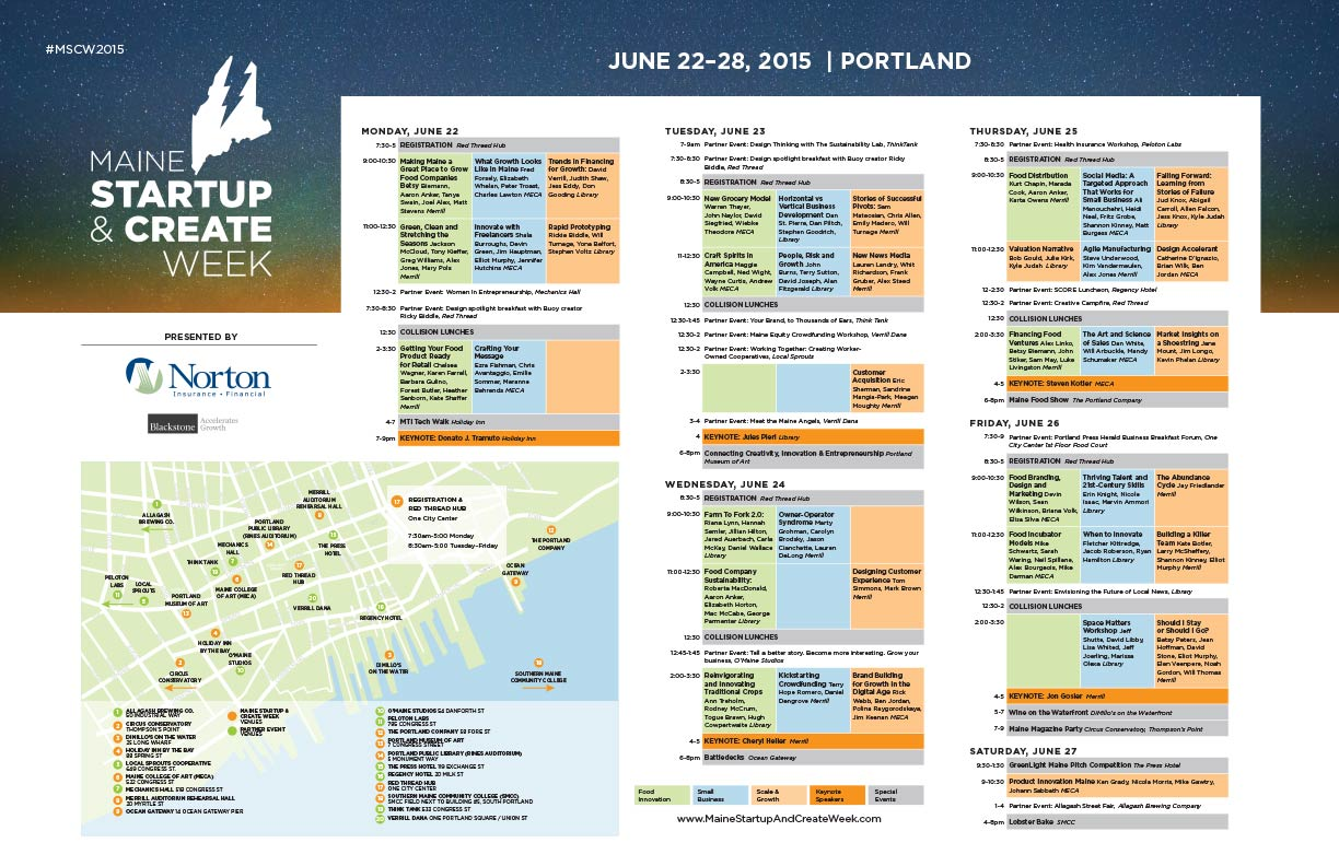 Maine Startup and Create Week Schedule and Map