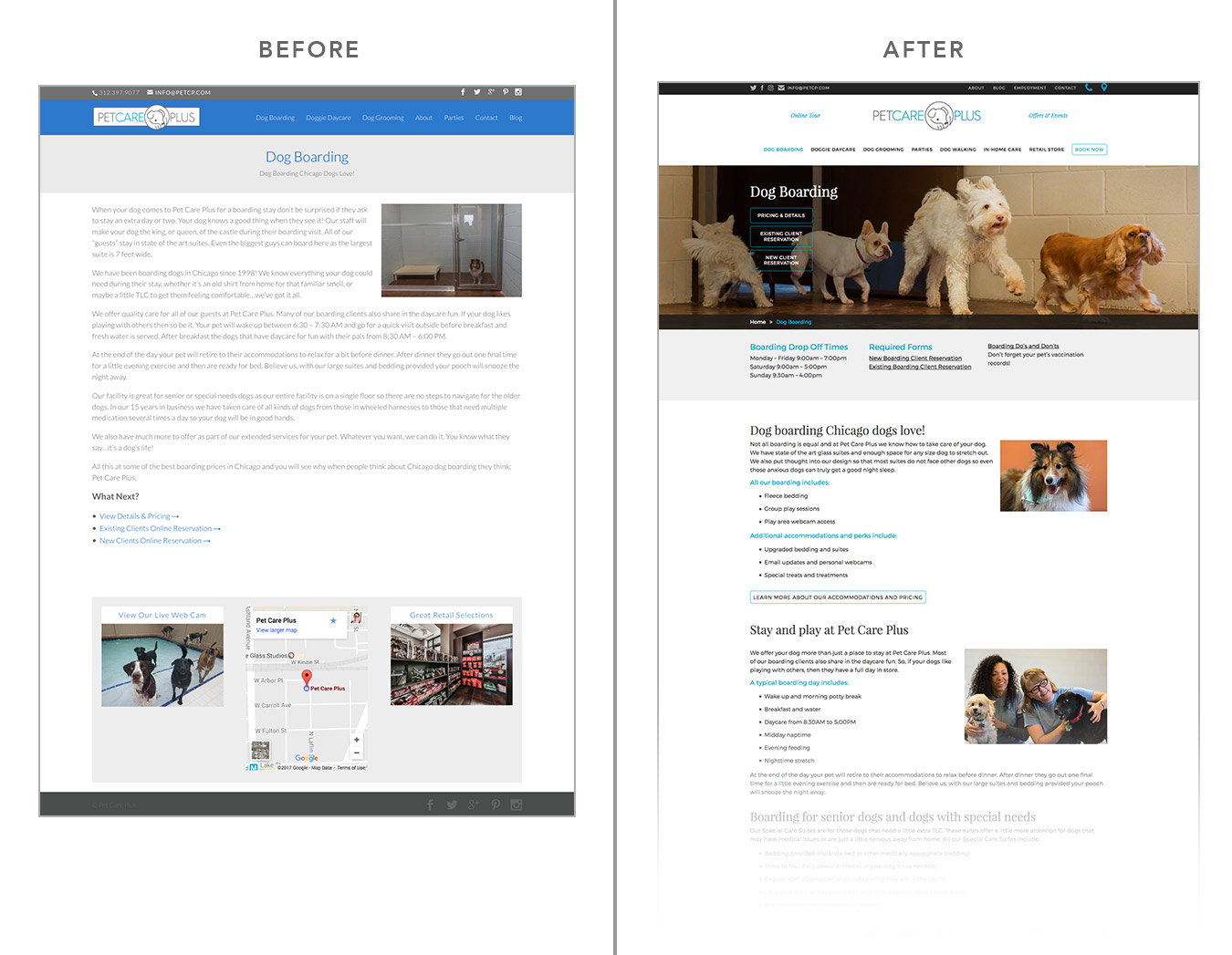 Before and After Web Design: Pet Care Plus | Visible Logic
