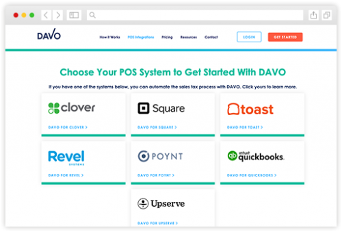 DAVO Integrations page